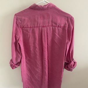 Express pink distressed button up